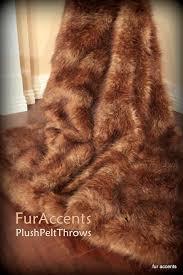 Faux Fox Fur Throw Plush Faux Fur Thick Rustic Brown Hide Fur Throw Blanket