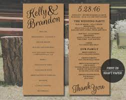 wedding programs diy diy rustic wedding etsy