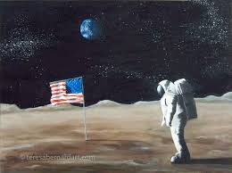 Picture Of Flag On Moon Neil Armstrong First Man On The Moon Teresa Bernard Oil Paintings