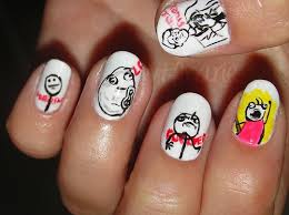 Nail Art Meme - black and white meme nails nail art