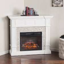 harper blvd utley white faux stone widescreen electric fireplace
