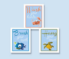 Cute Bathroom Sets by Cute Kids Bathroom Set Of Ocean Creatures Art Prints Signs For