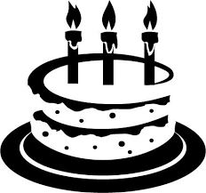 printable sheet of black and white birthday cakes for kids