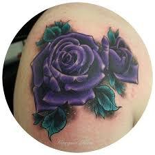 amazing purple rose tattoo design for shoulder by georgina liliane