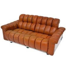 sofa in leather 70 u0027s at 1stdibs