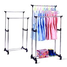 rolling clothes rack stylish heavy duty double rail adjustable