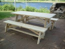 Wooden Picnic Tables With Separate Benches Cedar Picnic Tables Free Shipping