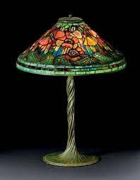 studios new york favrile leaded glass and patinated bronze poppy lamp