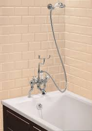 deck mounted angled bath shower mixer with shower hook