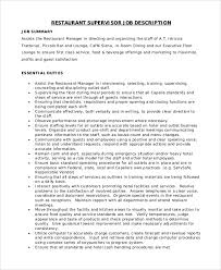 Job Description Sample Assistant Teacher Job Description Sample - Dining room supervisor job description