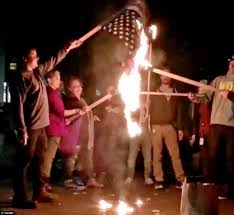 Burning A Flag Violent Liberal Loonies Take The Streets Protesting Trump Victory