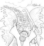 FAA Printables...Moses Leads People Across The Red Sea...Coloring Page friendsacrossamerica.com