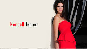 kendall jenner standing with wall in red dress wallpaper