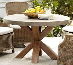 concrete and wood outdoor table abbott round dining table pottery barn