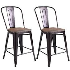 Cafe Style Dining Chairs Amazon Com Costway Copper Set Of 2 Tolix Style Metal Dining