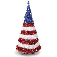 the prelit pop up patriot tree hammacher schlemmer