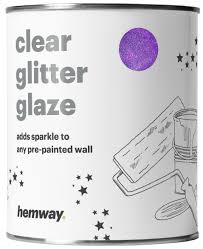 hemway 1l clear glitter paint glaze for pre painted walls purple