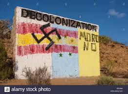 The Flag In Spanish Graffiti On A Wall In Front Of Guaza Mountain Tenerife Canary