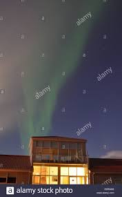the northern lights inn aurora above the northern lights inn near grindavik iceland stock
