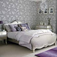 purple lavender bed room silver leaf bed gray linens home decor