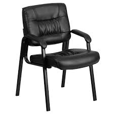 flash furniture black leather executive side chair with black