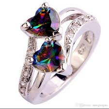 gem rings images 2018 fashion lover jewelry double heart cut rainbow white topaz jpg