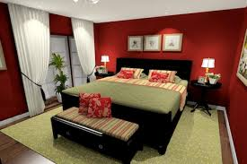red bedroom paint with green accents dark wood furniture itty