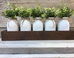 modern rustic planter box centerpiecesmason jar decorwood