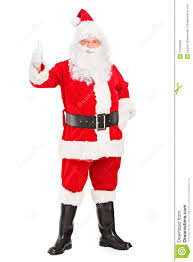 happy santa claus standing and giving a thumb up royalty free