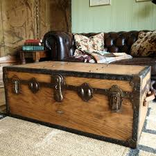 vintage trunk coffee table vintage steamer trunk 30s travel trunk industrial chest coffee table