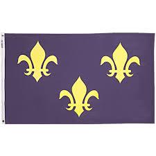 brewer banner designs massachusetts fleur de lis flag blue with fleur de lis flag blue with three gold fleurs nyl glo 3 ft