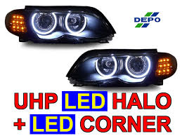 depo 02 05 bmw e46 4d angel xenon hid headlight clear amber led