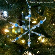 Easy Beaded Christmas Ornaments - easy beaded snowflake ornaments with myfavoritebloggers happy
