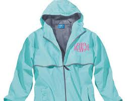 monogram rain jacket etsy