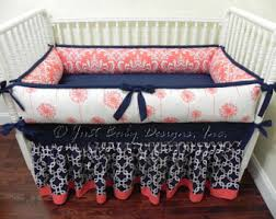 Navy And Coral Crib Bedding Coral Navy Nursery Etsy