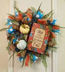fall wreath w pumpkin thanksgiving wreath turquoise fall wreath