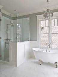 White Contemporary Curtains Claw Bathtub Tile Shower With Bench Toilet Brush And Holder White