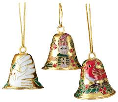 12 cloisonne bell ornament set traditional