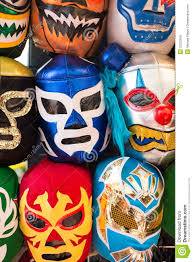 Luchador Halloween Costume Arrangement Luchador Masks Background Royalty Free