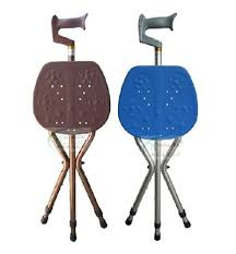 Walking Stick Chair Qoo10 Deluxe Folding Cane Seat Walking Stick Crutch Stool And