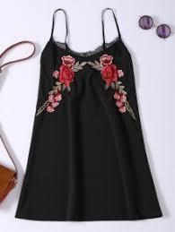 slip lace embroidered rose applique dress black summer dresses s
