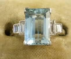 art deco 4ct emerald cut aquamarine u0026 0 50ct diamond ring 18ct