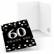 60th birthday gold birthday party thank you cards 8