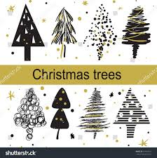 christmas trees drawing hand homemade cards stock vector 514418527