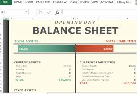 Opening Day Balance Sheet Template Opening Day Balance Worksheet For Excel