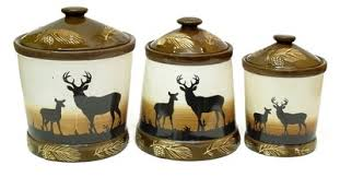 deere kitchen canisters canister set silhouette deer 3 graduated sizes ceramic ebay