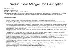 Call Center Job Description For Resume by Retail Floor Manager Job Description Akioz Com