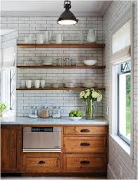 Wall Cabinet Kitchen by Popular Again Wood Kitchen Cabinets Open Shelving Subway Tiles