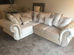 Ebay Cream Sofa Rio Corner Sofa In Cream Crushed Velvet Ebay