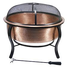 Copper Firepits Shop Garden Treasures 28 5 In W Polished Copper Wood Burning